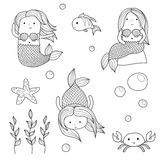 Mermaids and underwater sea life creatures. Cute doodle kid-like drawn style vector set of mermaids and underwater sea life creatures. Chibi fun mermaids, crab Royalty Free Stock Photos