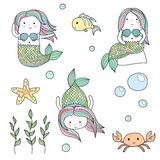 Mermaids and underwater sea life creatures doodles. Cute doodle kid-like drawn style vector set of mermaids and underwater sea life creatures. Chibi fun mermaids Royalty Free Stock Images