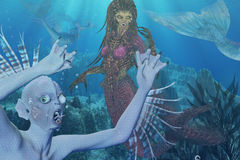 Mermaids. Various mermaid creatures swimming in the ocean Royalty Free Stock Image