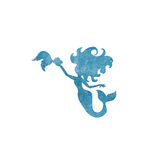 Mermaids  watercolor silhouettes icons isolated Stock Photos