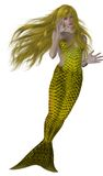 mermaidsimningyellow Royaltyfri Foto