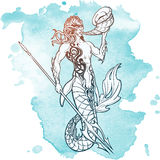 Merman sketch  on white background Stock Photography