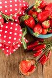 Mermelada de fresa con el chile Fotografía de archivo