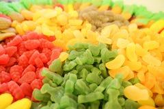 Mermelada multicolora deliciosa de la fruta caramelos brillantes malsanos en bulto diverso cierre de la foto de la jalea dulces s fotos de archivo libres de regalías