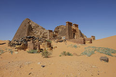 Meroe pyramid ruins. Ruined pyramids of Meroe, Sudan Royalty Free Stock Images