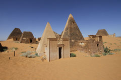 Meroe pyramidal tombs, Sudan. Ruined pyramids of Meroe, Sudan Royalty Free Stock Image