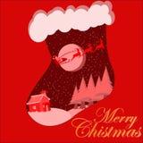 Merri Christmas Card With Magical jultomten Royaltyfria Foton