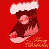 Merri Christmas Card With Magical Santa Photos libres de droits