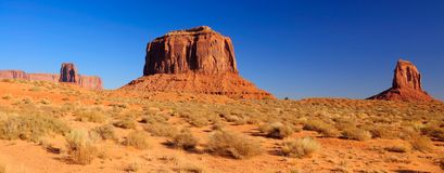Merrick Butte between two Mittens, Monument Valley. A panorama of Merrick Butte between two Mittens, Monument Valley, Navajo Nation, Utah Royalty Free Stock Photo