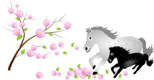 Merrie met veulen in dalende bloei van boom stock illustratie