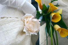 Merried couple. Bride has a wedding bouquet Stock Images