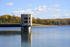 Merrill Creek Reservoir inlet outlet tower Stock Photo