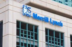 Merrill Lynch Exterior Sign und Logo Stockbild