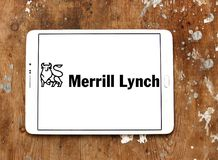 Merrill lynch Wealth Management logo. Logo of merrill lynch Wealth Management on samsung tablet. Merrill Lynch Wealth Management is a wealth management division Royalty Free Stock Photos