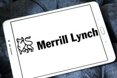 Merrill lynch Wealth Management logo. Logo of merrill lynch Wealth Management on samsung tablet. Merrill Lynch Wealth Management is a wealth management division Royalty Free Stock Photography