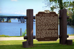 Merrimac Ferry. The Merrimac Ferry historical marker in front of the Wisconsin River Bridge in Wisconsin Royalty Free Stock Images