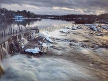 Merrimack flod Lowell Ma Arkivbilder