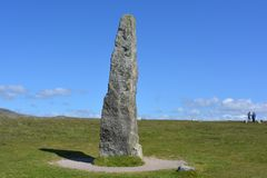 Merrivale Standing Stone, in the Neolithic to Bronze Age Prehistoric Settlement site, Dartmoor, UK stock photos