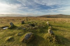 Merrivale stone row. The prehistoric stone row on merrivale coming that lies within dartmoor national park Stock Photo
