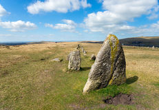 Merrivale Stone Rows Royalty Free Stock Photography