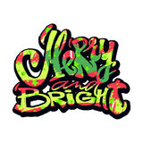 Merrry and bright hand lettering christmas motivation poster. Royalty Free Stock Photography