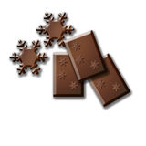 Merry. Isolated Snowflakes made of chocolate bar Royalty Free Stock Photo