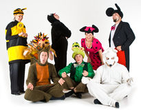 Merry Actors. Different theatrical actors in costumes of different fantasy characters Royalty Free Stock Photo