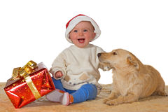 Merry baby enjoying Christmas with dog Stock Photo