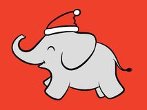 Merry baby Santa elephant Stock Images