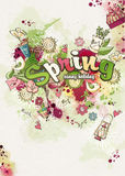 Merry background on a spring theme created from watercolor and colored blots doodles Stock Image