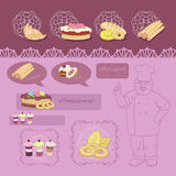 Baker. Merry baker and his magnificent farinaceous foods Royalty Free Stock Images