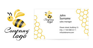 Merry bee business card. Merry bee Logo. Abstract creative business card template. Flat design vector illustration