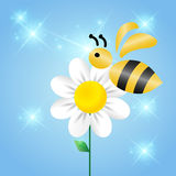 Merry bee on a flower. In the sky stock illustration