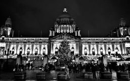 Merry Belfast City Hall, black and white. Spectacular Belfast City Hall and Christmas Market. Night, season decoration, light and unforgettable atmosphere before Stock Photos