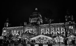 Merry Belfast City Hall, black and white Royalty Free Stock Photography