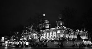 Merry Belfast City Hall, black and white. Spectacular Belfast City Hall and Christmas Market. Night, season decoration, light and unforgettable atmosphere before Stock Photography