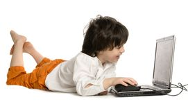 The merry boy with laptop Stock Photography