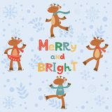 Merry and bright card with cute reindeers Stock Photos