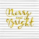 Merry and bright Gold glittering elegant modern brush lettering design on a striped gray background.  vector. Merry and bright Gold glittering elegant modern Stock Photo