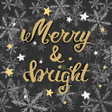 Merry and bright. Greeting hand lettering, hand calligraphy. Vector festive Christmas card. Vector Merry and bright. Greeting hand lettering, hand calligraphy Stock Image