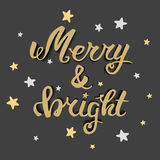 Merry and bright. Greeting hand lettering, hand calligraphy. Vector festive Christmas card. Merry and bright. Greeting hand lettering, hand calligraphy. festive Royalty Free Stock Images
