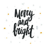 Merry and bright - handwritten design for Christmas card. Royalty Free Stock Images