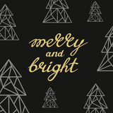 Merry and Bright handwritten golden lettering with triangle art Stock Image