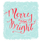Merry and bright lettering. Christmas greeting card. Red handwritten text on blue texture background. Vintage style Royalty Free Stock Image