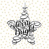 Merry and bright lettering framed in star tree toy. Hand drawn calligraphy lettering inspirational quotes. Merry Christmas greetin. G card, Happy New Year Stock Photos
