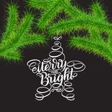 Merry and Bright lettering. Happy New Year 2018 greeting card. Christmas green trees branches and lettering in tree toys form agai. Merry and Bright lettering Stock Photo