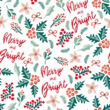 Merry and Bright lettering, misteltoes, leaves, bows, and christmas flowers. White background. Seamless vector pattern. stock illustration