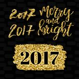 Merry and bright lettering and numbers 2017. Golden elements design set. Vector illustration. Christmas greeting card Stock Image