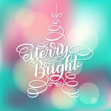 Merry and Bright New Year Lettering in form of star tree toy, Greeting Card design circle text frame  on white Royalty Free Stock Image