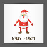 Merry and Bright post card template. Vector Illustration of Santa Claus. Stock Image